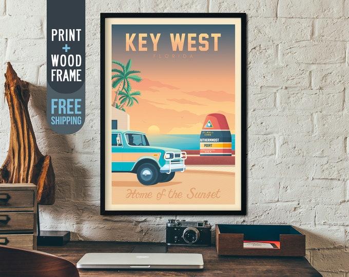 Key West Florida Travel Poster Framed, Florida Keys USA skyline print, USA sea landscape wall art, tropical surf nature beach home decor