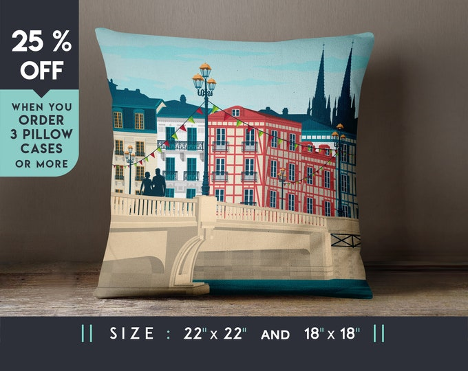Bayonne France Pillow Case [22x22] Cushion cover, Travel Art Print, Geometry Minimalist, City Skyline, Cityscape illustration, Decor Gift