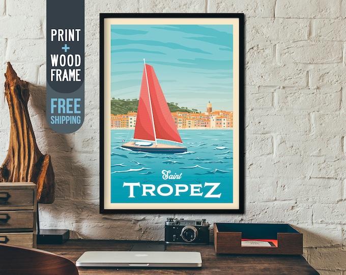 Saint Tropez France Travel Poster - Saint Tropez skyline print, Beach Ocean Sea wall art, French Riviera home decor, art deco, framed poster