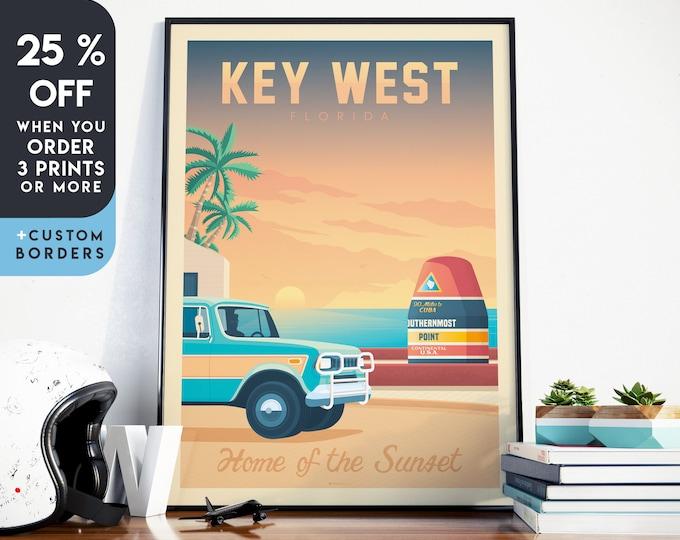 Key West Print | Key West Vintage Travel Poster | Florida Keys Print | Florida Beach Poster | City Skyline Wall Art | Home Decor | Gift