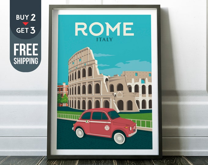 Rome Italy Coliseum Print - Vintage Rome Travel Poster, vintage Rome print, wall art, home decoration, wall decoration, italy travel decor