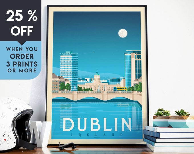 Dublin Ireland Vintage Travel Poster, Wall Art Print, Minimalist, City Skyline, World Map Art, Cityscape illustration, Home Decor, Gift