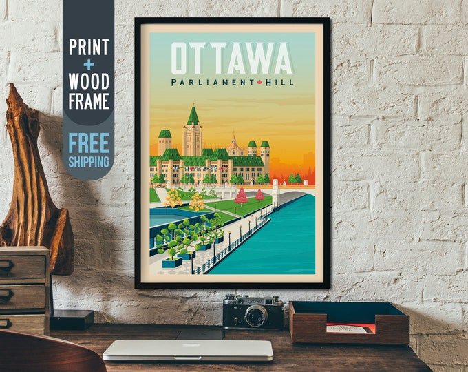 Ottawa Canada Vintage Travel Poster, Ottawa Skyline framed poster, Canada wall art, home decoration, wall decoration, gift idea, retro print
