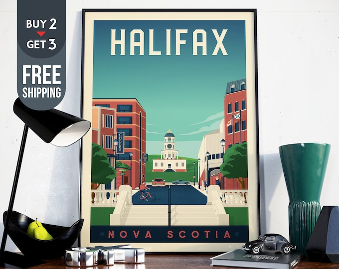 Halifax Canada Vintage Travel Poster, Halifax Canada vintage print, wall art, home decor, wall decoration, city map poster, canada gift idea