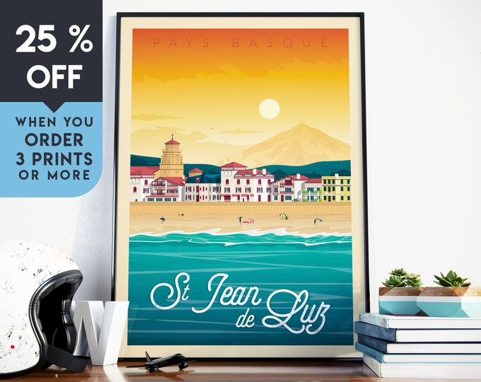 Saint Jean de Luz Vintage Travel Poster, Wall Art Print, Minimalist, City Skyline, World Map Art, Beach Surf illustration, Home Decor, Gift