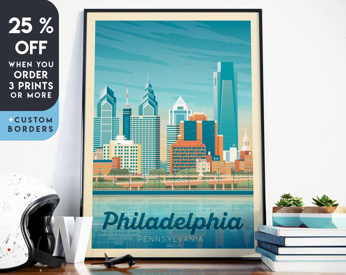 Philadelphia Print | Philadelphia Vintage Travel Poster | Philadelphia Print | Philadelphia Poster | Skyline Wall Art | Home Decor | Gift