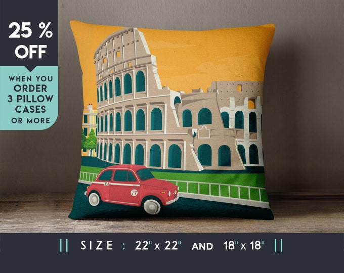 Rome Italy Pillow Case [22x22] Cushion cover, Travel Art Print, Geometry Minimalist, City Skyline, Cityscape illustration, Decor Gift