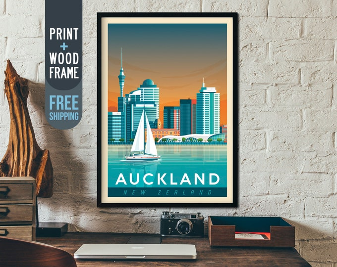 Auckland New-Zealand Print - Auckland framed Poster, Auckland illustration print, sailing, wall art, home decor, wall decor, New Zealand Map