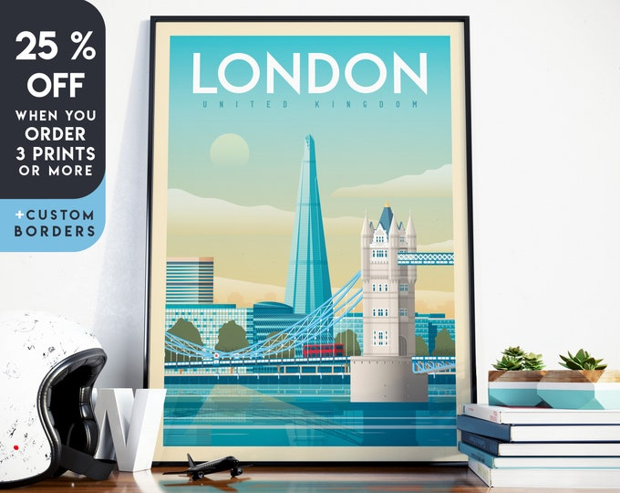 London Print | London Vintage Travel Poster | Tower Bridge Print | London Poster | London City Skyline Wall Art | Home Decor | Gift