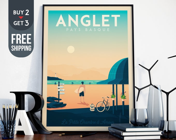 Anglet Vintage Travel Poster, vintage print, Surf wall art print, home decoration, art deco print, France travel decoration, beach poster,