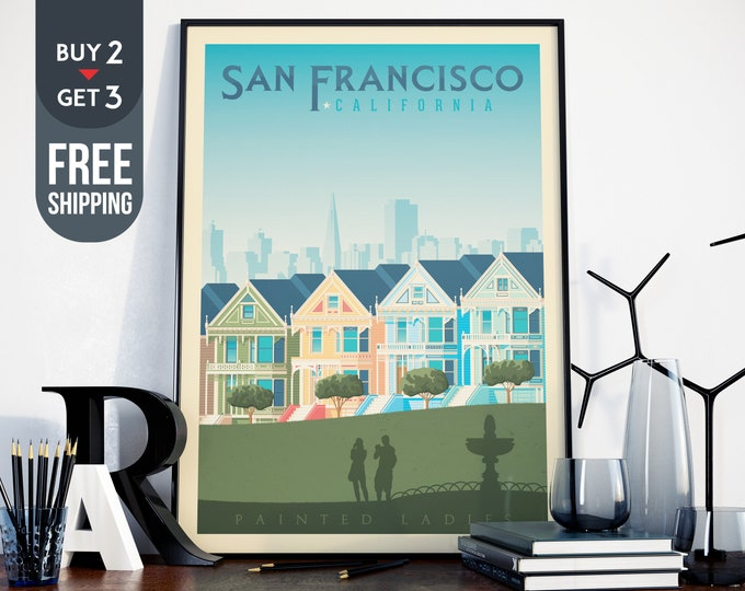 San Francisco Vintage Travel Poster, California vintage print, USA wall art print, Usa home decor, San Francisco decor, USA vintage Poster