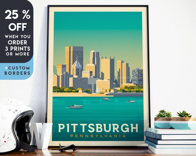 Pittsburgh Print | Pittsburgh Vintage Travel Poster | United States Print | Pittsburgh Poster | City Skyline Wall Art | Home Decor | Gift