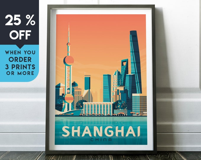 Shanghai China Vintage Travel Poster, Wall Art Print, Minimalist, City Skyline, World Map Art, Cityscape Asia illustration, Home Decor, Gift