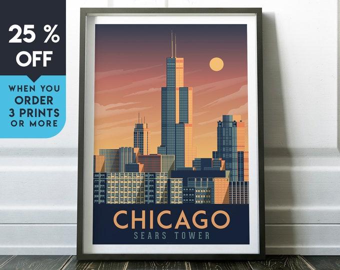 Chicago Illinois Vintage Travel Poster, Wall Art Print, Minimalist, City Skyline, World Map Art, Cityscape illustration, Home Decor, Gift