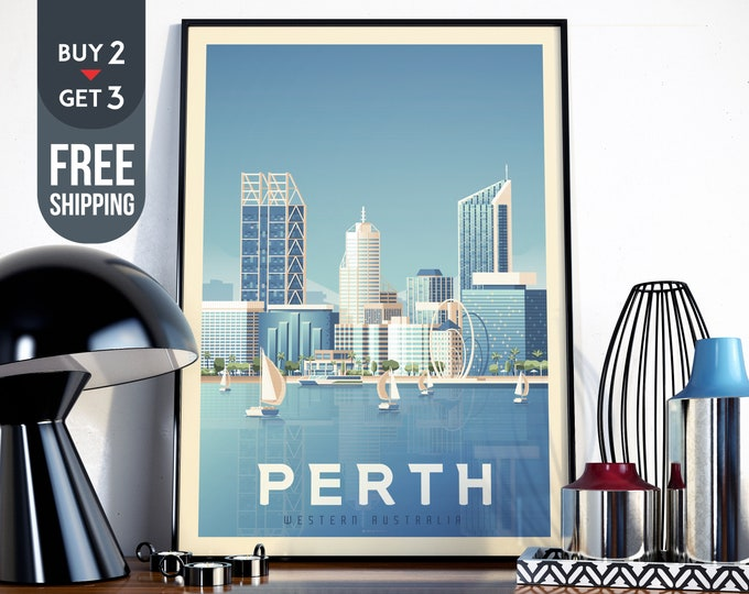Perth Australia vintage Print - Perth Travel Poster, Beach print, wall art, Beach home decor, sailing wall decor, Australia gift idea