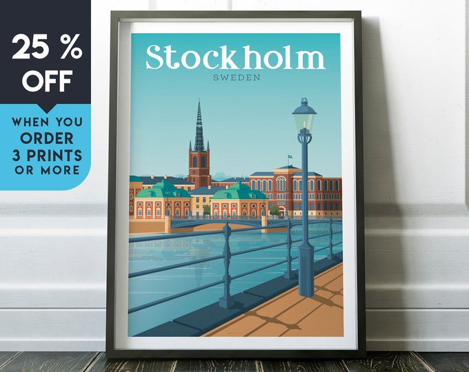 Stockholm Vintage Travel Poster, Wall Art Print, Minimalist, City Skyline, World Map Art, Cityscape Retro illustration, Home Decor, Gift