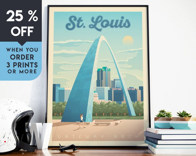 St. Louis Vintage Travel Poster, Wall Art Print, Minimalist, City Skyline, World Map Art, Gateway Arch illustration, Home Decor, Gift