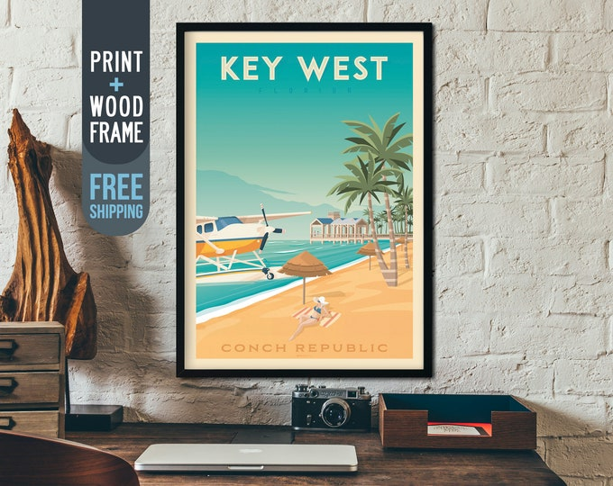 Key West Florida Travel Poster, Vintage Florida Keys USA print, USA wall art, beach home decor, surf wall decoration, Tropical travel decor