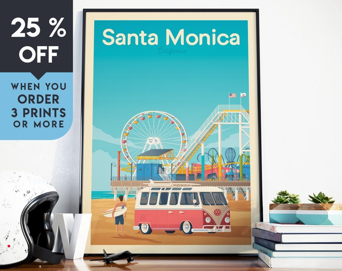 Santa Monica Vintage Travel Poster, Wall Art Print, Minimalist, Skyline, World Map Art, Beach Surf Tropical illustration, Home Decor, Gift