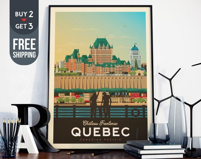 Québec Canada Print, Québec City Vintage Travel Poster, Quebec Skyline Map, Canada landscape wall art, Canada home decor, Canada gift idea