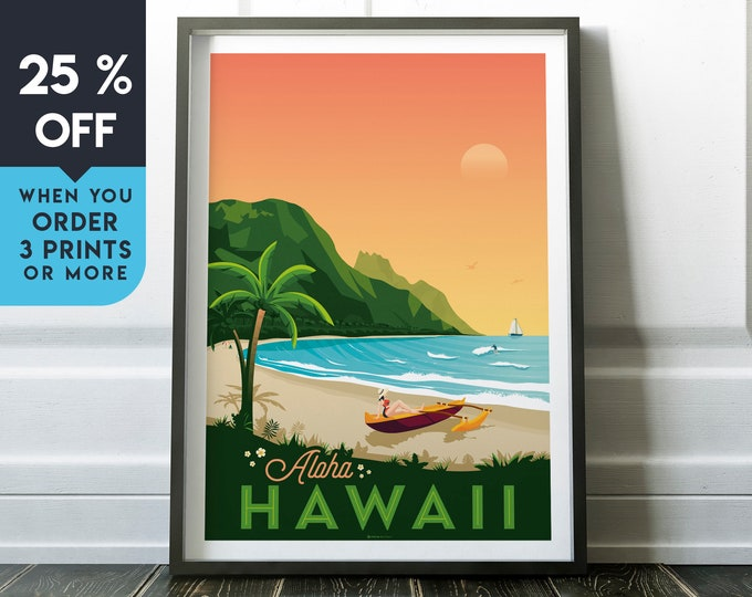 Hawaii Beach Vintage Travel Poster, Wall Art Print, Minimalist, City Skyline, World Map Art, Surf Tropical illustration, Home Decor, Gift