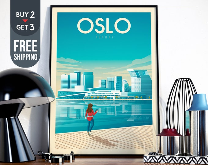 Oslo Norway Print - OsloTravel Poster, Oslo vintage print, Scandinavian wall art home decoration, Oslo illustration, Oslo city map design