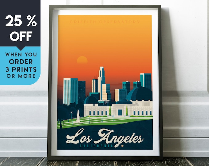 Los Angeles California Vintage Travel Poster, Wall Art Print, Minimalist, City Skyline, World Map Art, retro illustration, Home Decor, Gift