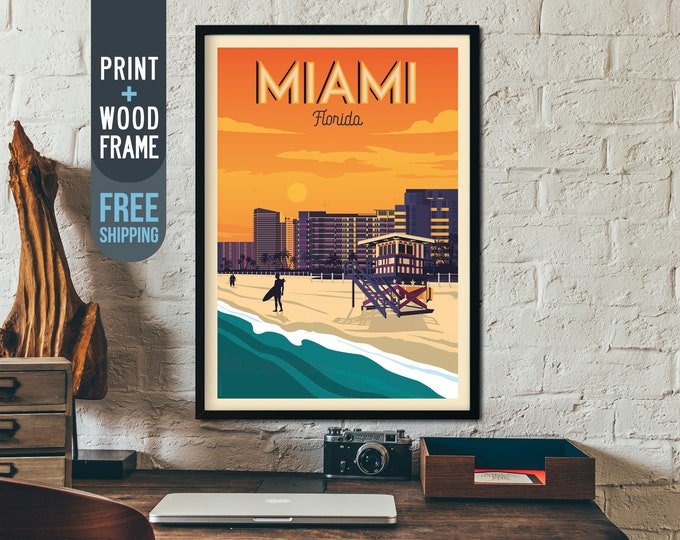 Miami Florida Vintage Travel Poster, Miami framed poster, Miami Florida wall art, home decoration, wall decoration, gift idea, retro print
