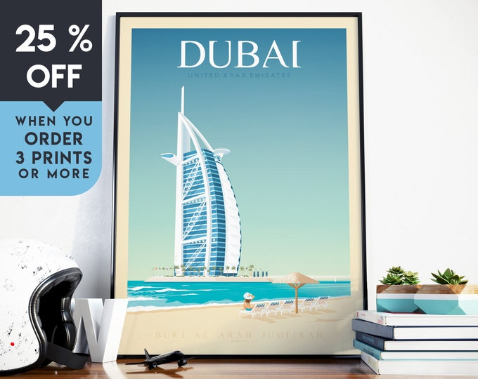 Dubai UAE Vintage Travel Poster, Wall Art Print, Minimalist, City Skyline, World Map Art, Beach Tropical illustration, Home Decor, Gift Idea