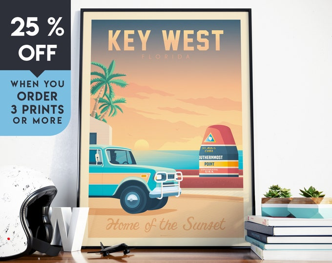 Key West Florida Vintage Travel Poster, Wall Art Print, Minimalist, Skyline, Map Art, Beach Surf Palm Tree illustration, Home Decor, Gift