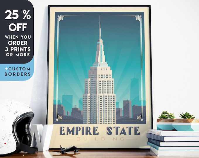 New York Print | New York Vintage Travel Poster | Empire State Building Print | NYC Poster | City Skyline Wall Art | Home Decor | Gift
