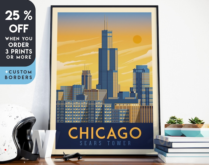 Chicago Print | Chicago Vintage Travel Poster | Chicago Print | Chicago Poster | Chicago City Skyline Wall Art | Home Decor | Gift