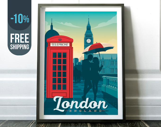 London Vintage Travel Poster, London city print, London wall art, Big Ben London skyline map illustration home wall decoration, gift idea