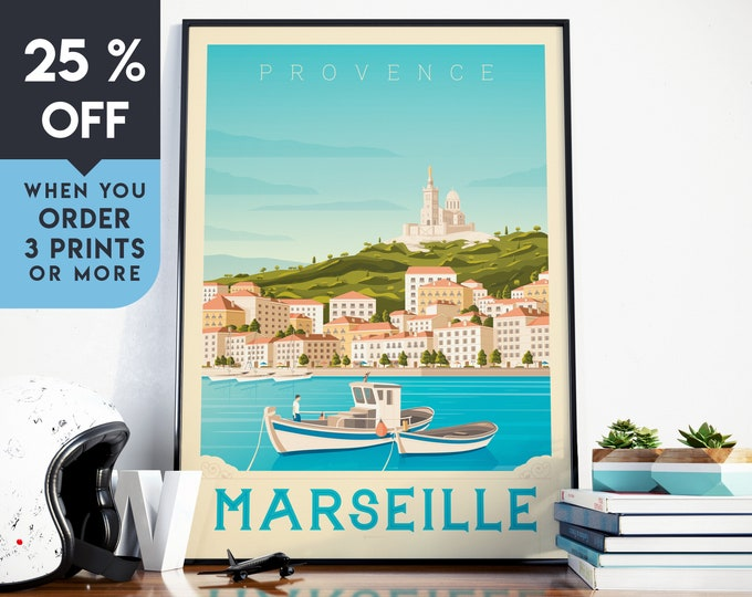 Marseille France Vintage Travel Poster, Wall Art Print, Minimalist, City Skyline, World Map Art, Cityscape illustration, Home Decor, Gift