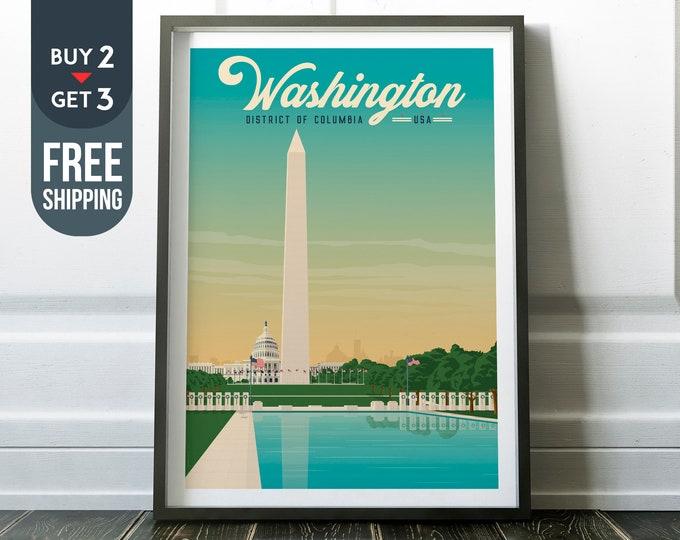 Washington DC USA Vintage Travel Poster, Washington DC  print, usa wall art print, vintage decor, wall decor, america gift idea, art print