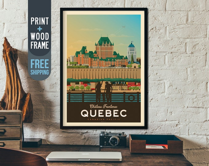 Québec Château Frontenac Vintage Travel Poster, Québec framed poster, Canada wall art, Canada home wall decoration, gift idea, retro print