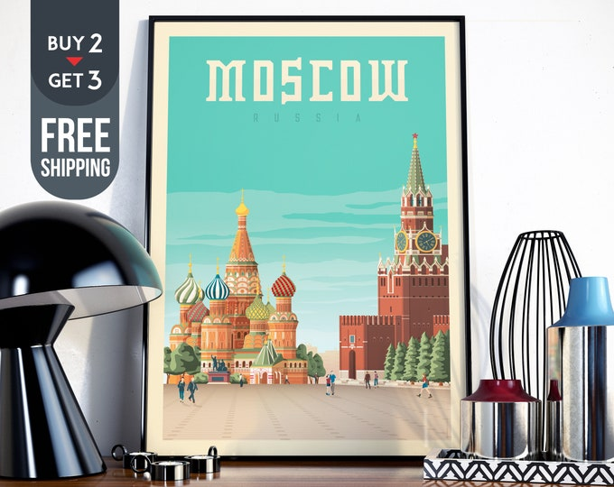 Moscow Travel Poster, Moscow Russia Print , Red Square illustration print, Moscow Skyline, Moscow wall art, Russia home decor, gift idea