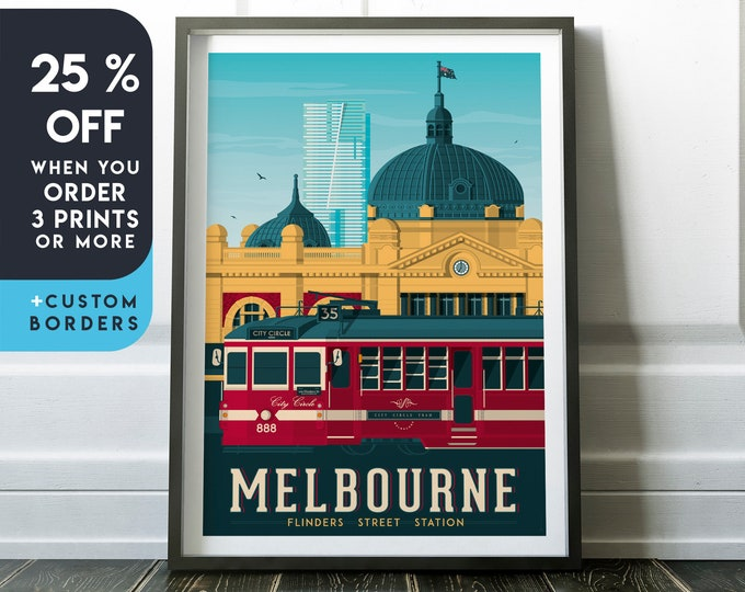 Melbourne Print | Melbourne Vintage Travel Poster | Australia Print | Melbourne Poster | City Poster | Skyline Wall Art | Home Decor | Gift