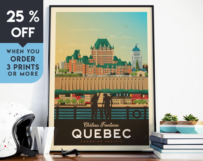 Quebec Canada Vintage Travel Poster, Wall Art Print, Minimalist, City Skyline, World Map Art, Cityscape illustration, Home Decor, Gift