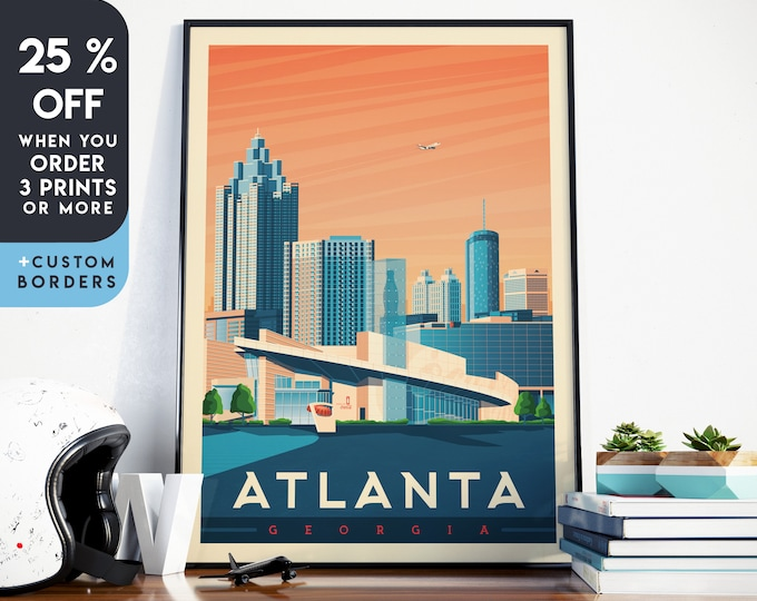 Atlanta Print | Atlanta Vintage Travel Poster | Georgia Print | Coca Cola Poster | Atlanta City Skyline Wall Art | Home Decor | Gift