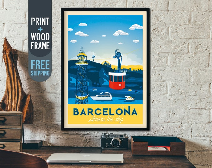 Barcelona Spain Print Vintage Travel Poster, Spain framed poster, wall art, home decoration, wall decoration, gift idea, retro print