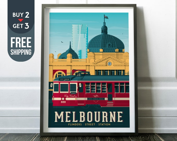 Melbourne Australia Vintage Travel Poster, Melbourne Australia vintage print, Melbourne wall art, home decoration, Australia travel decor