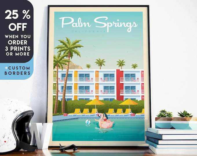 Palm Springs Print | Palm Springs Vintage Travel Poster | California Print | Los Angeles Poster | Mid Century Wall Art | Home Decor | Gift