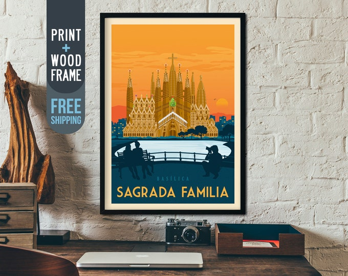 Barcelona Sagrada Familia Spain Vintage Travel Poster, framed poster, Barcelona wall art, Spain home wall decoration, gift idea, retro print