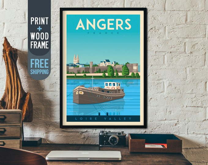 Angers France Framed Print - Vintage Angers Travel Poster, framed poster, wall art, home decoration, wall decoration, gift idea, retro print