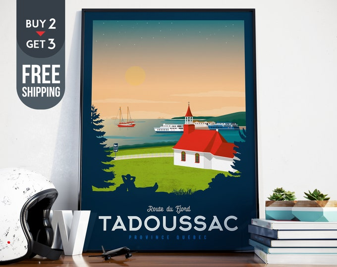 Tadoussac Canada Quebec Print - Tadoussac Canada Vintage Travel Poster, vintage print, Canada art print, home decoration, wall decoration