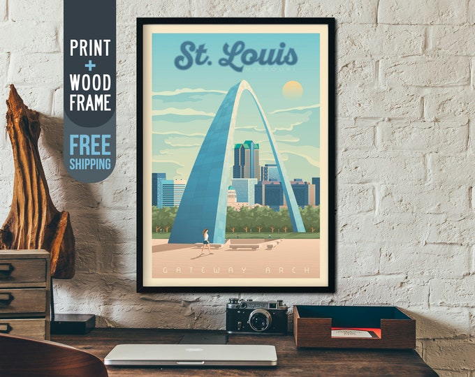 St. Louis Missouri Vintage Travel Poster, St. Louis Usa framed poster, American wall art, USA home wall decoration, gift idea, retro print