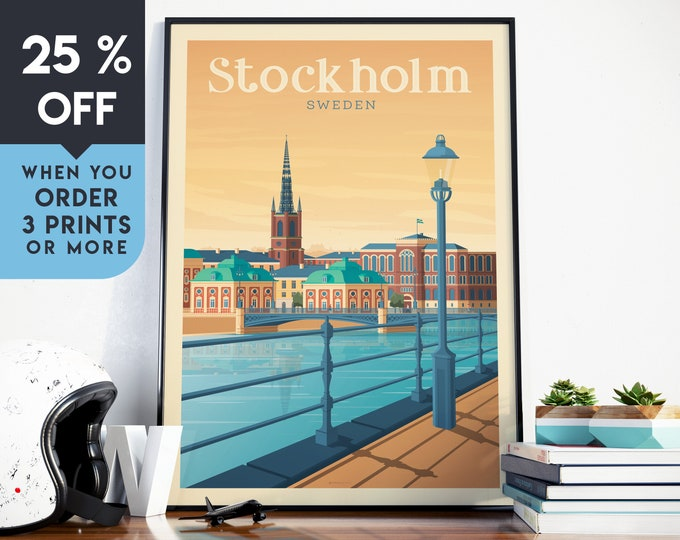 Stockholm Sweden Vintage Travel Poster, Wall Art Print, Minimalist, City Skyline, World Map Art, Cityscape illustration, Home Decor, Gift