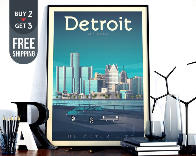 Detroit Michigan Travel Poster, Vintage Detroit USA print, Detroit USA wall art, Car home decor, Race wall decoration, American travel decor