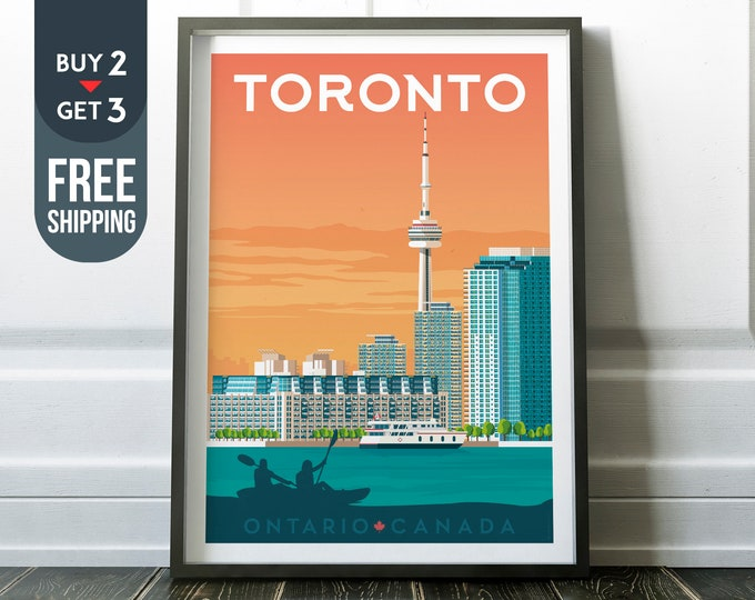 Toronto Canada Vintage Travel Poster, Ontario vintage print, Toronto Canada wall art, home decoration, wall decoration, Canadian gift idea